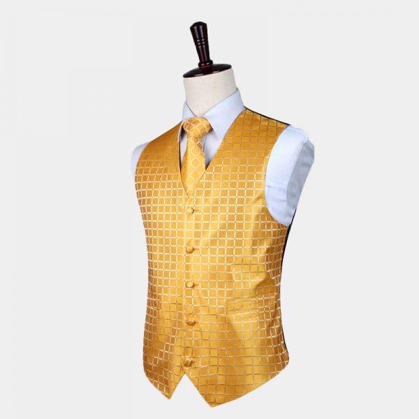 Gold Checkered Waistcoat And Tie Set from Gentlemansguru.com
