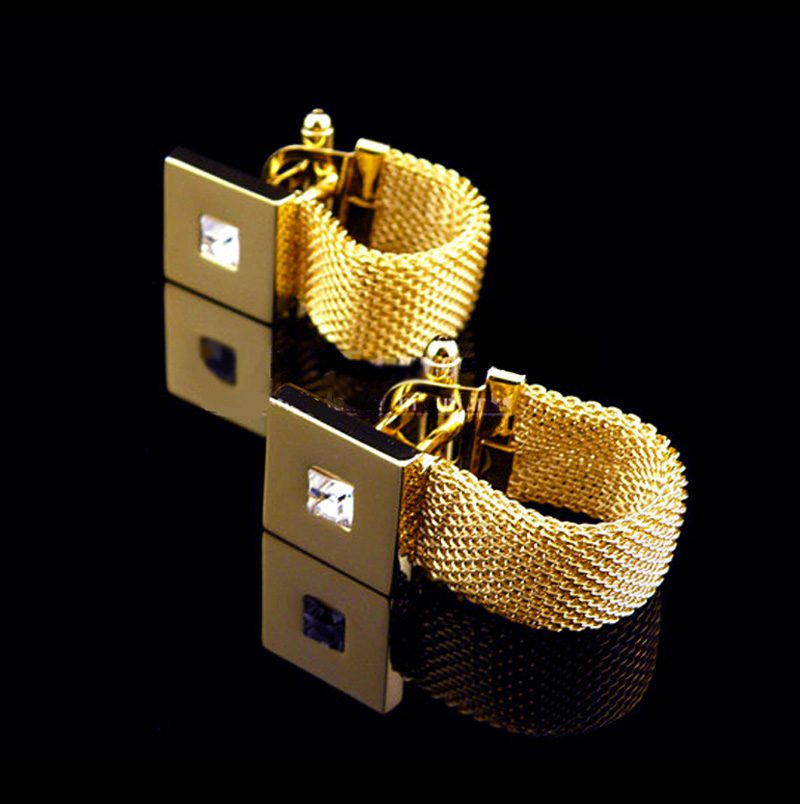 Gold Mesh Wrap Around Cufflinks Set Uk from Gentlemansguru.com