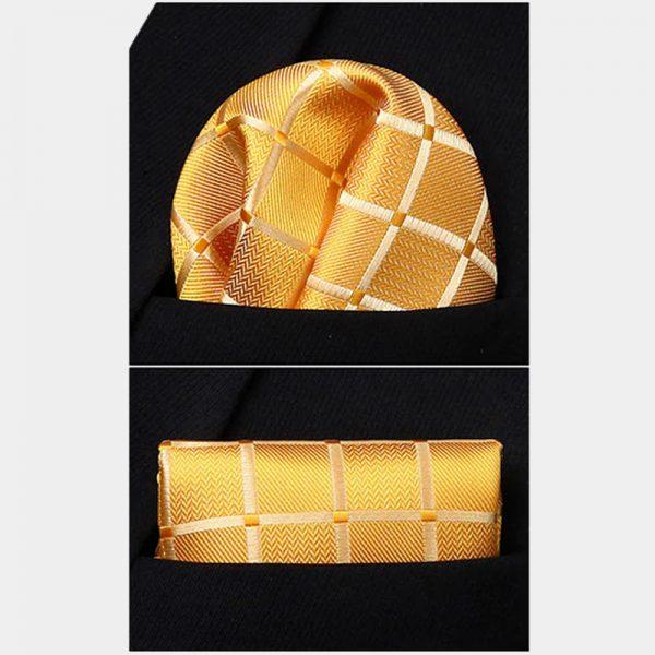 Gold Plaid Pocket Square With Vest And Necktie Set from Gentlemansguru.com