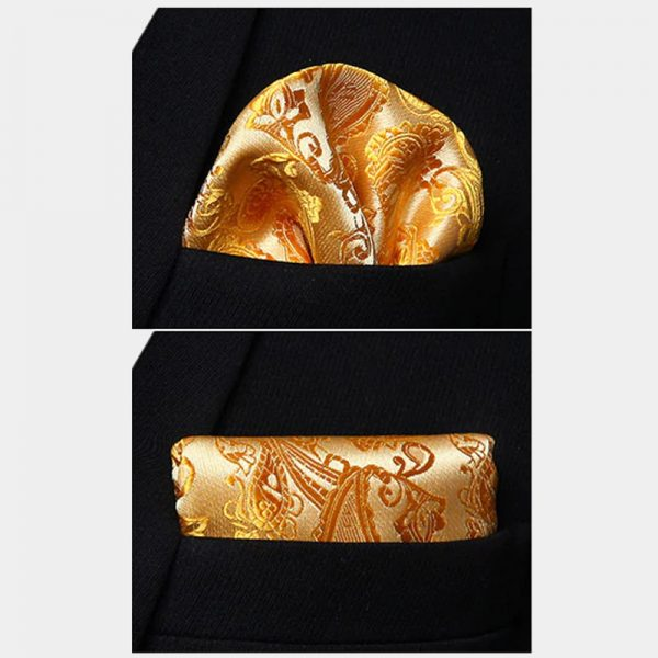 Gold Paisley Pocket Square For Wedding With Necktie And Waistcoat from Gentlemansguru.com