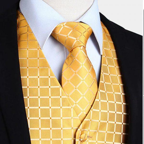 Gold Tuxedo Vest And Tie Set from Gentlemansguru.com