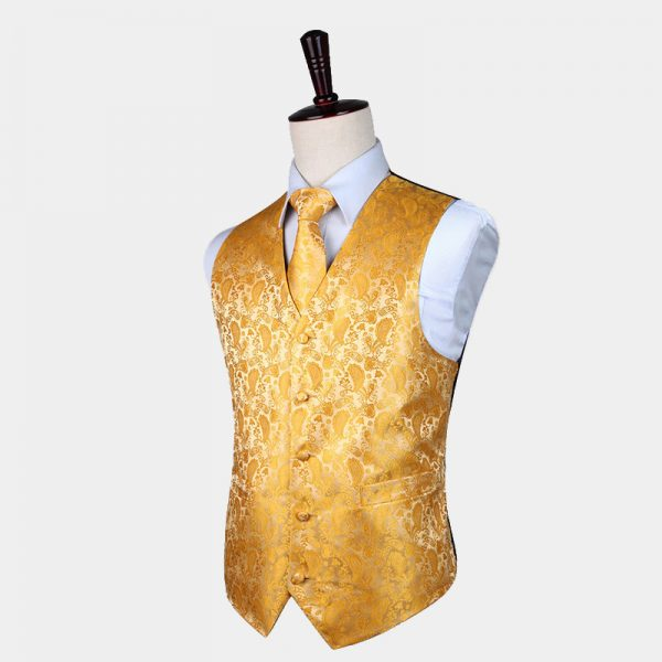 Gold Tuxedo Vest Paisley Waistcoat For Men Groom-Wedding from Gentlemansguru.com