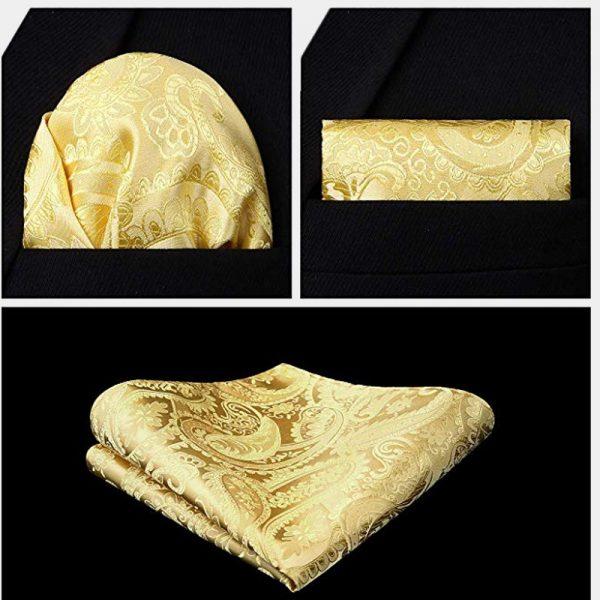 Golden Yellow Paisley Pocket Square And Vest Waistcoat Set from Gentlemansguru.com