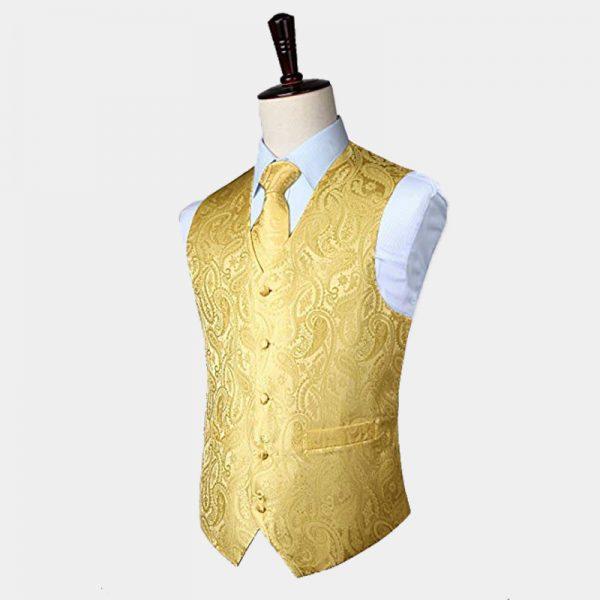 Golden Yellow Paisley Vest Waistcoat Set from Gentlemansguru.com
