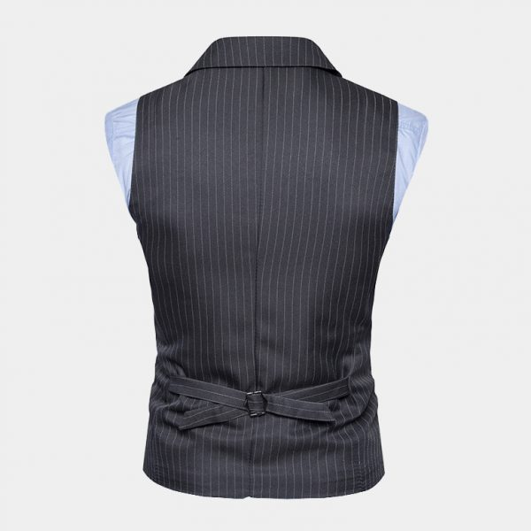 Gray Double Breasted Pinstripe Waistcoat Vest Suit from Gentlemansguru.com