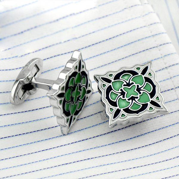 Green Enamel Button Shirt Cufflinks from Gentlemansguru.com