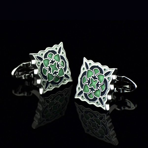 Green and White Enamel Cufflinks With Silver Plating from Gentlemansguru.com