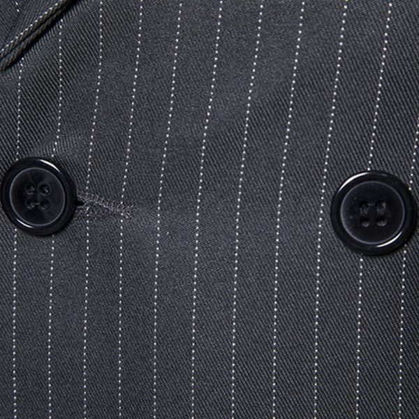 Grey Double Breasted Pinstriped Suit Vest For Men from Gentlemansguru.com