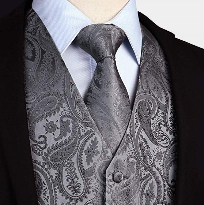 Grey Paisley Vest And Tie Set Wedding-Groom-Tuxedo from Gentlemansguru.com
