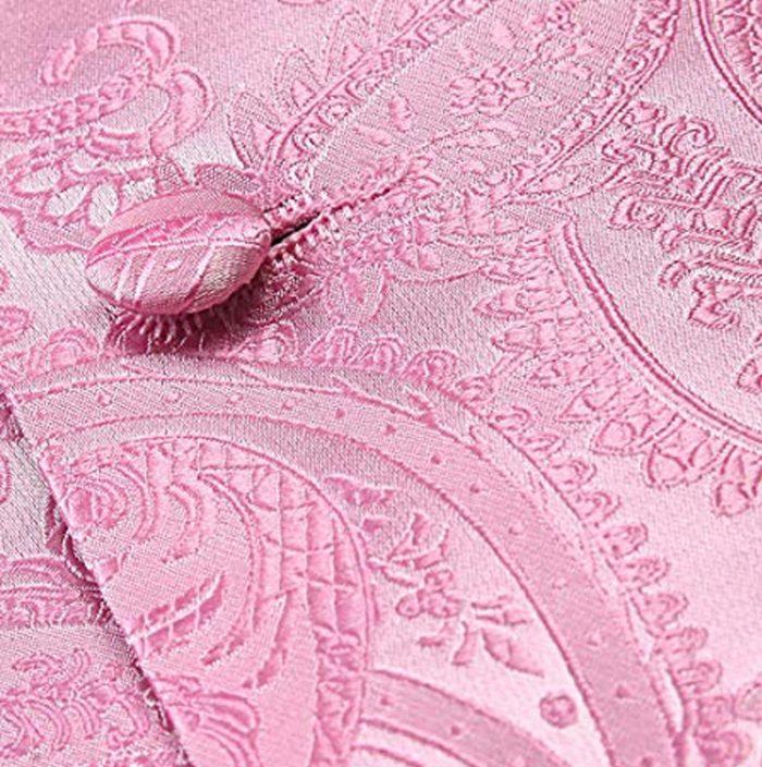 Light Pink Paisley Vest And Tie Set For Men from Gentlemansguru.com