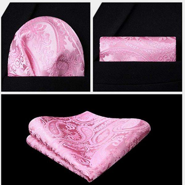 Light Pink Pocket Square And Vest Set from Gentlemansguru.com