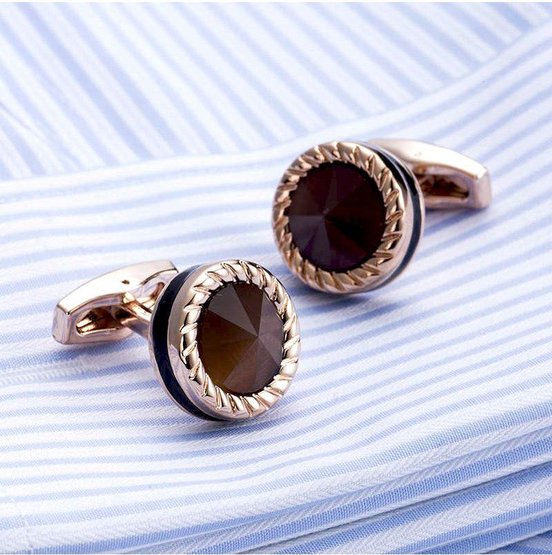 Luxury Rose Gold Cats Eye Cufflinks Set from Gentlemansguru.com