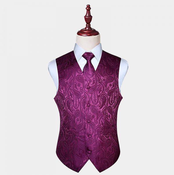 Magenta Purple Paisley Vest And Tie Set from Gentlemansguru.com