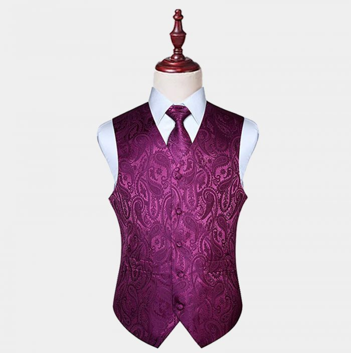 Magenta Purple Paisley Vest And Tie Set from Gentlemansguru.com