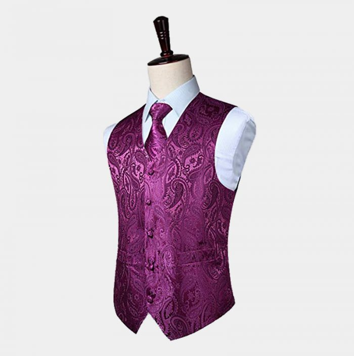Magenta Purple Paisley Waistcoat And Tie Set from Gentlemansguru.com