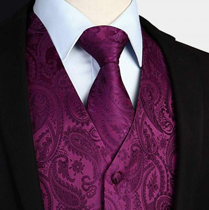 Magenta Purple Tuxedo-Suit- Pzaisley Vest And Tie Set For Men-Groom-Groomsmen from Gentlemansguru.com