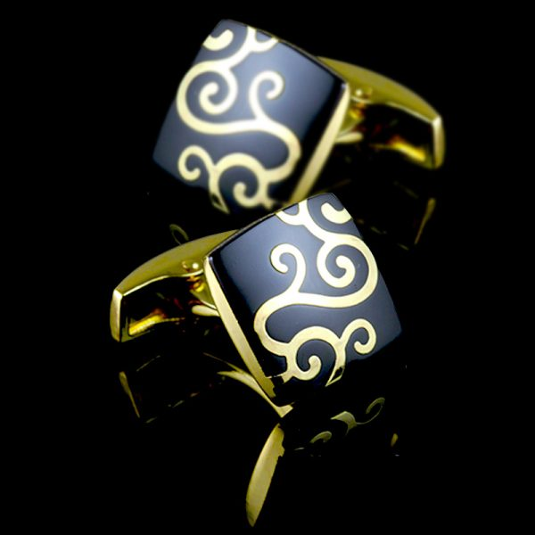 Mens Black And Gold Square Cufflinks Set from Gentlemansguru.com
