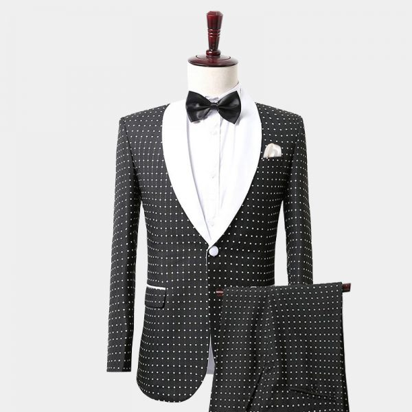 Mens Black And WHite Polka Dot Tuxedo Suit
