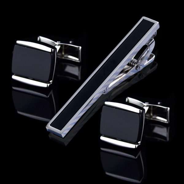 Mens Black Onyx Cufflinks And Tie Pin Set bar-clip from Gentlemansguru.com