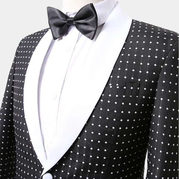 Mens Black POlka Dot Tuxedo JAcket With White Trim Shawl Lapel from Gentlemansguru.com