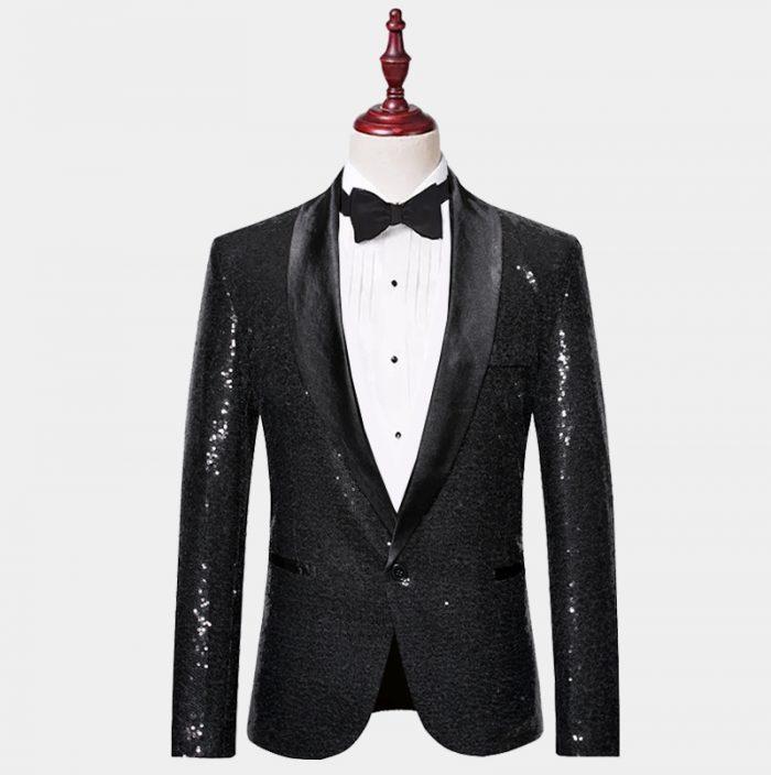 Mens Black Sequin Tuxedo Jacket from Gentlemansguru.com