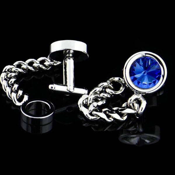 Mens Blue Crystal Chain Link Swank Wrap Around Cufflinks Set from Gentlemansguru.com