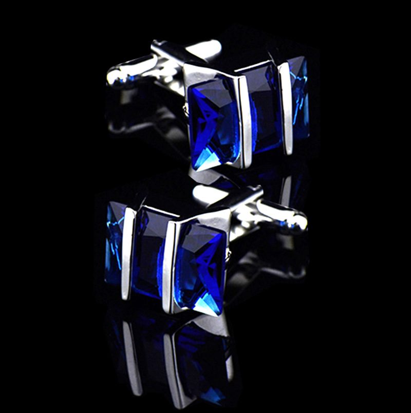 Mens Blue Sapphire Crystal Cufflinks Set from Gentlemansguru.com