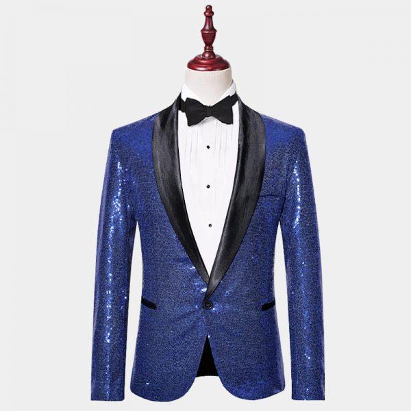 Mens Blue Sequin Blazer Jacket from Gentlemansguru.com