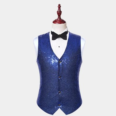 Mens Blue Sequin Waistcoat -Glitter Vest from Gentlemansguru.com