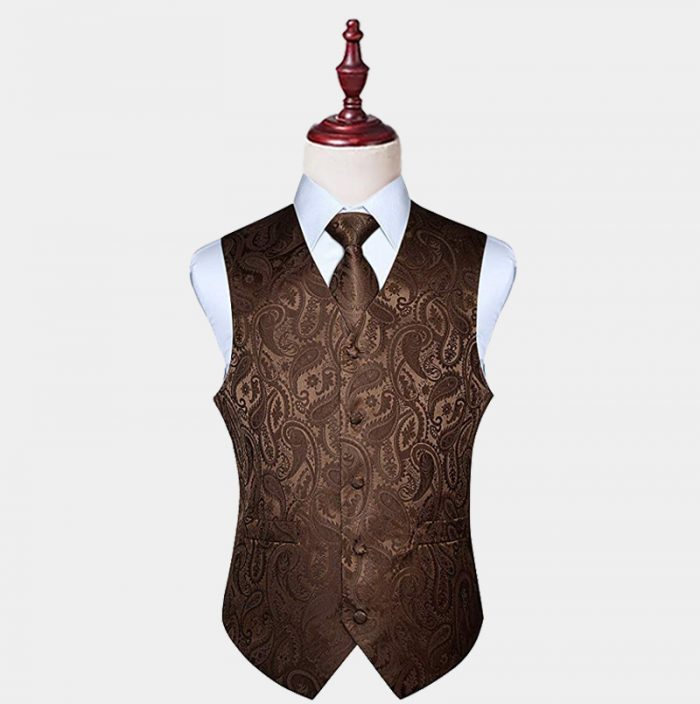Mens Brown Paisley Vest And Tie Set from Gentlemansguru.com