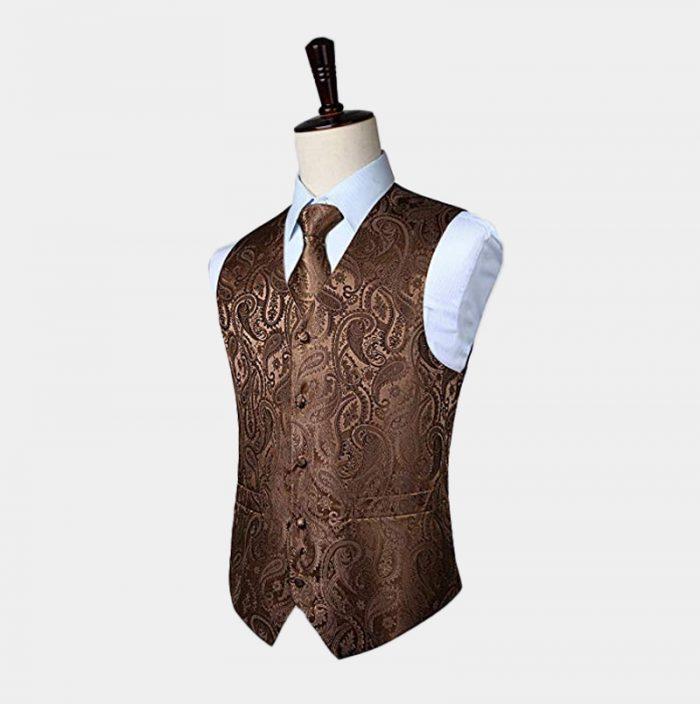 Mens Brown Paisley Waistcoat And Tie Set From Gentlemansguru.com