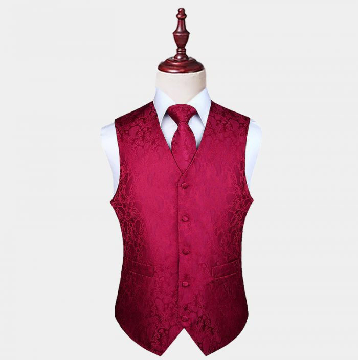 Mens Burgundy Paisley Waistcoat And Tie Set from Gentlemansguru.com