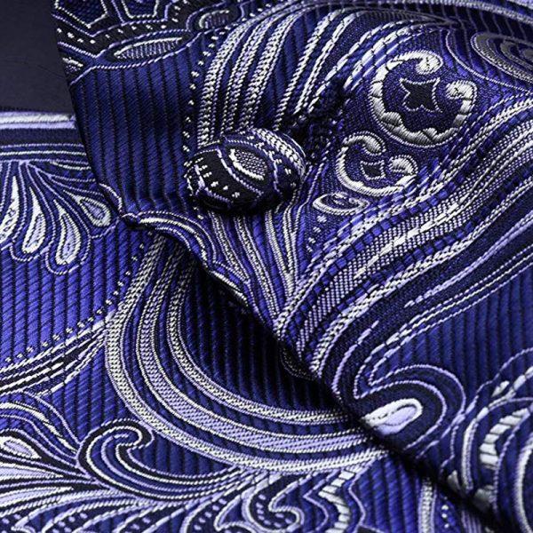 Mens Cobalt Blue Paisley Vest And Tie set Groom-Wedding-Tuxedo from Gentlemansguru.com