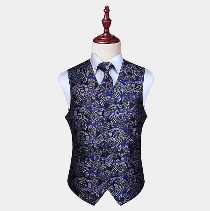 Mens Cobalt Blue Paisley Vest And Tie set from Gentlemansguru.com