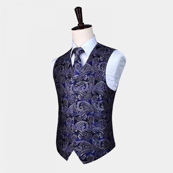 Mens Cobalt Blue Paisley Waistcoat And Tie set from Gentlemansguru.com