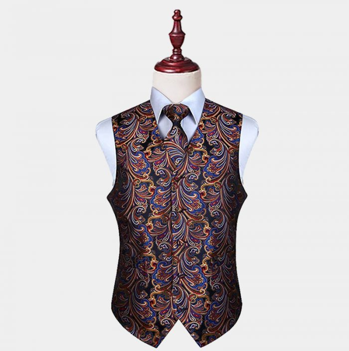Mens Colorful Paisley Vest And Tie set from Gentlemansguru.com