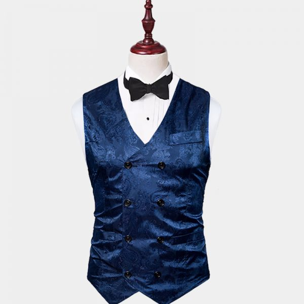 Mens Double Breasted Blue Paisley Vest from Gentlemansguru.com