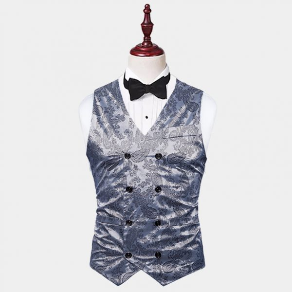 Mens Double Breasted Grey Paisley Vest from Gentlemansguru.com
