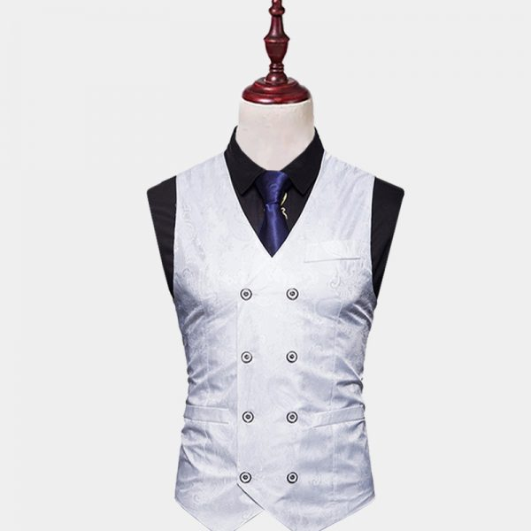 Mens Double Breasted Paisley Vest Wedding from Gentlemansguru.com