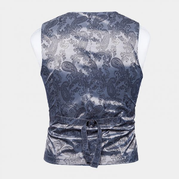 Mens Double Breasted Silver Paisley Vest from Gentlemansguru.com