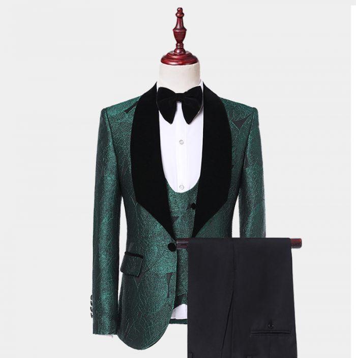 Mens Emerald Green Tuxedo Suit With Black Shawl Lapel from Gentlemansguru.com