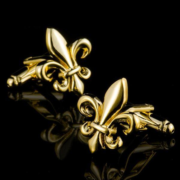 Mens Gold Fleur De Lis Cufflinks Set from Gentlemansguru.com