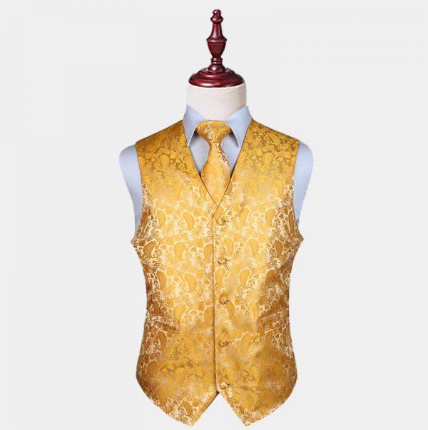 Mens Gold Paisley Waistcoat And Tie Set from Gentlemansguru.com