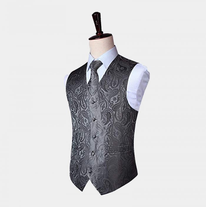 Mens Gray Paisley Waistcoat And Tie Set from Gentlemansguru.com