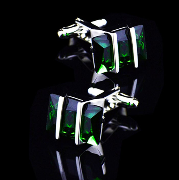Mens Green Crystal Cufflinks Pretty Green Cufflinks from Gentlemansguru.com