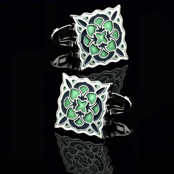 Mens Green Enemel Cufflinks from Gentlemansguru.com