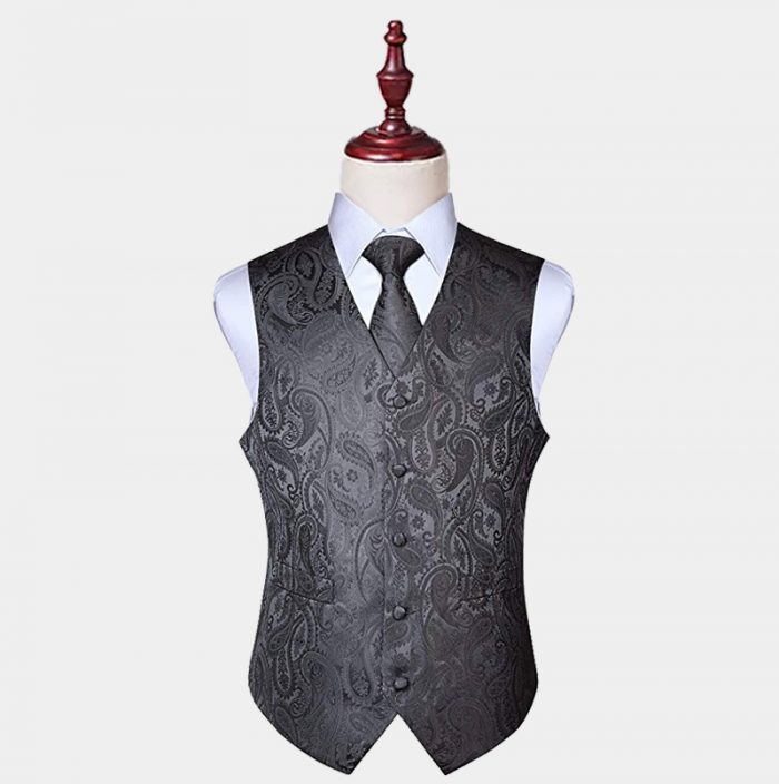 Mens Grey Paisley Vest And Tie Set from Gentlemansguru.com