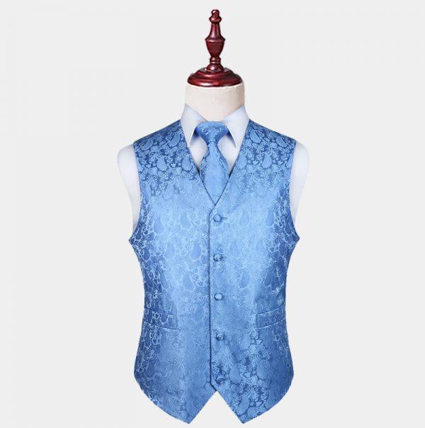 Mens Light Blue Paisley Waistcoat And Tie Set from Gentlemansguru.com