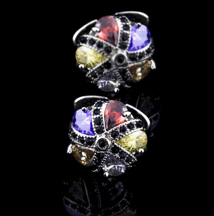 Mens Multi Color Cufflinks Crystal Cufflinks from Gentlemansguru.com