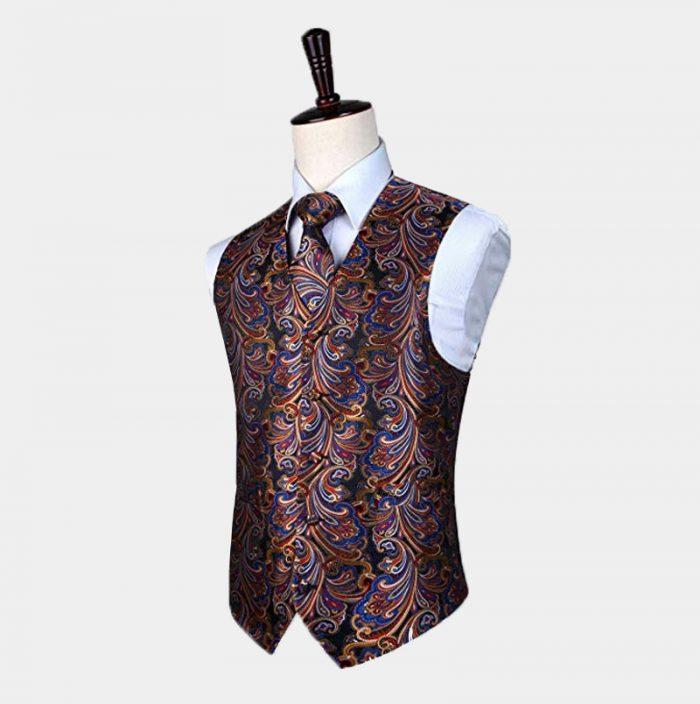 Mens Multi Coloured Waistcoat And Tie set from Gentlemansguru.com